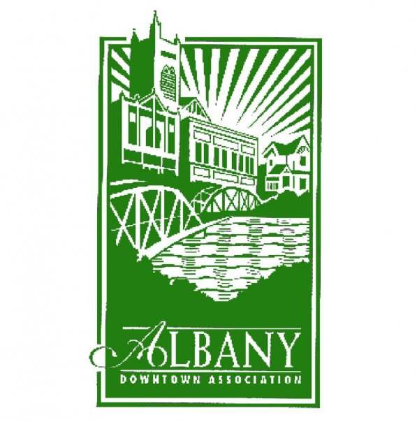Graphic of Albany Downtown Association showing a historic building and Ellsworth Bridge in a green and white rectangle