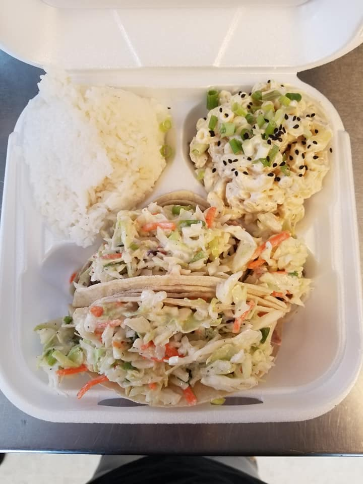 A photo showing a Hawaii inspired meal available from Grindz Food Truck and drive-through