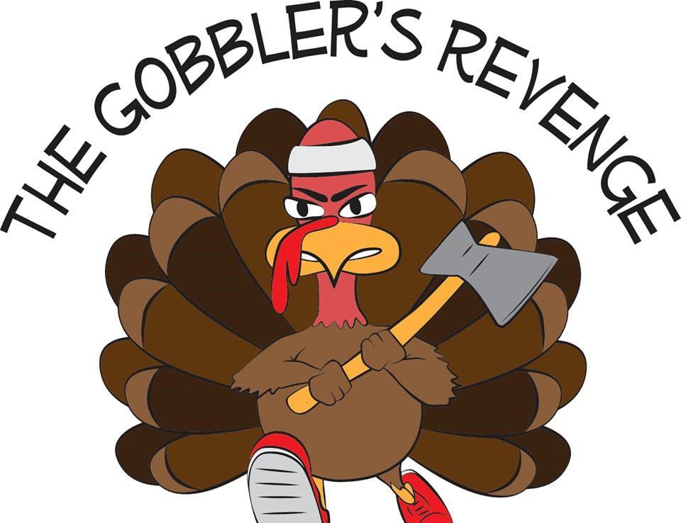 Cartoon of angry turkey with ax.