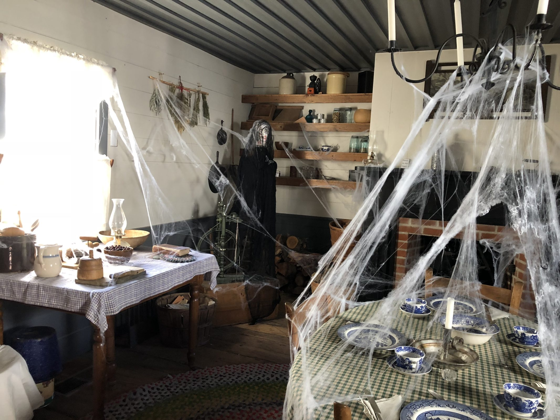Photo of house interior with fake spider web.