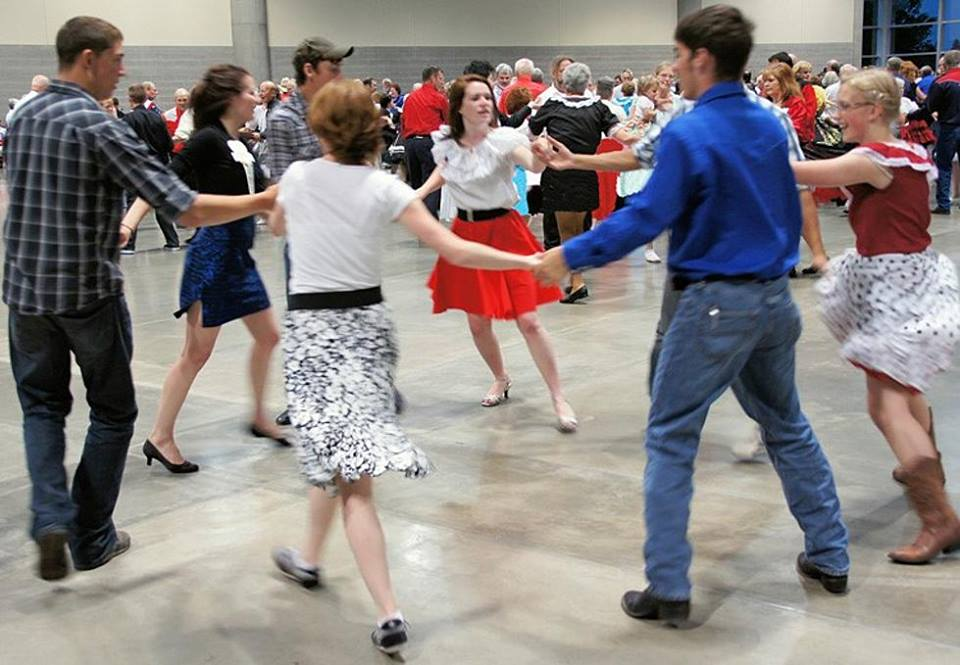 Photo of dancers in square dance.