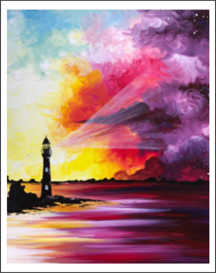 Photo of lighthouse against multicolored sunset.
