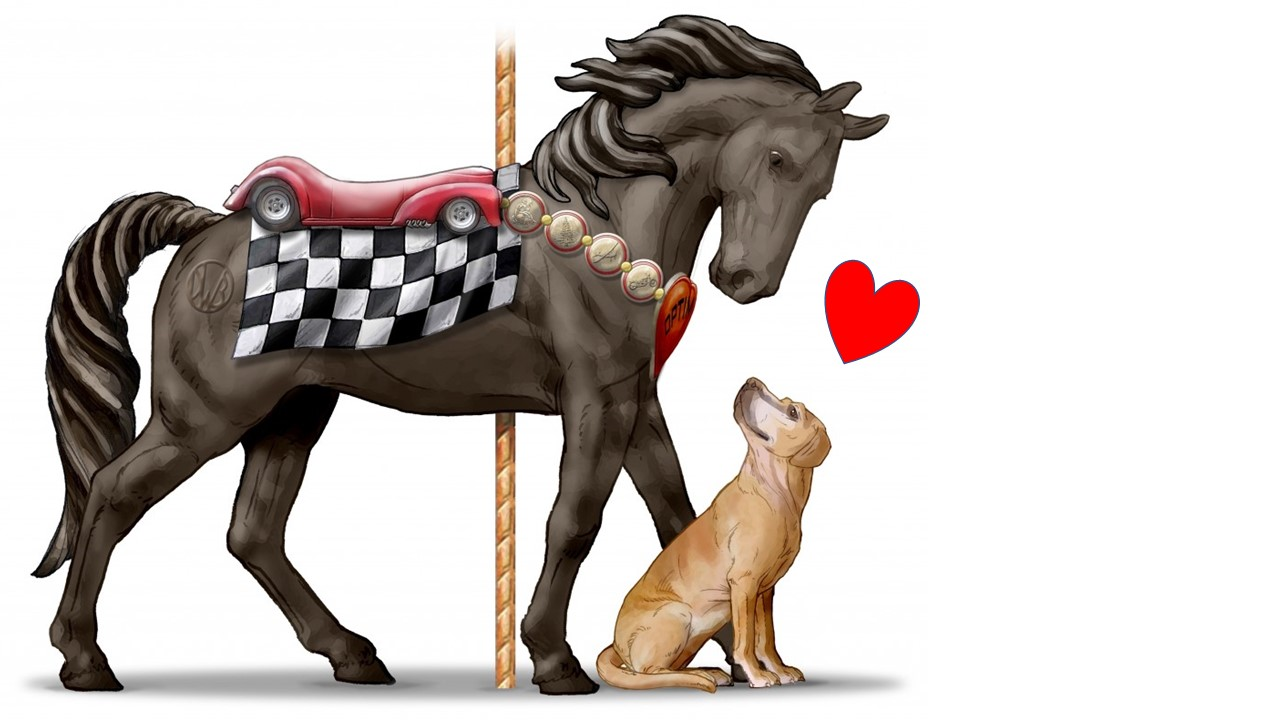 Illustration of horse and dog friends.