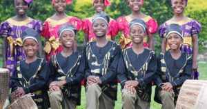 Photo of young Ugandan children in traditional costume