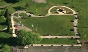 Photo taken from an airplane of the Linn County Veterans Memorial, showing outline of the state of Oregon