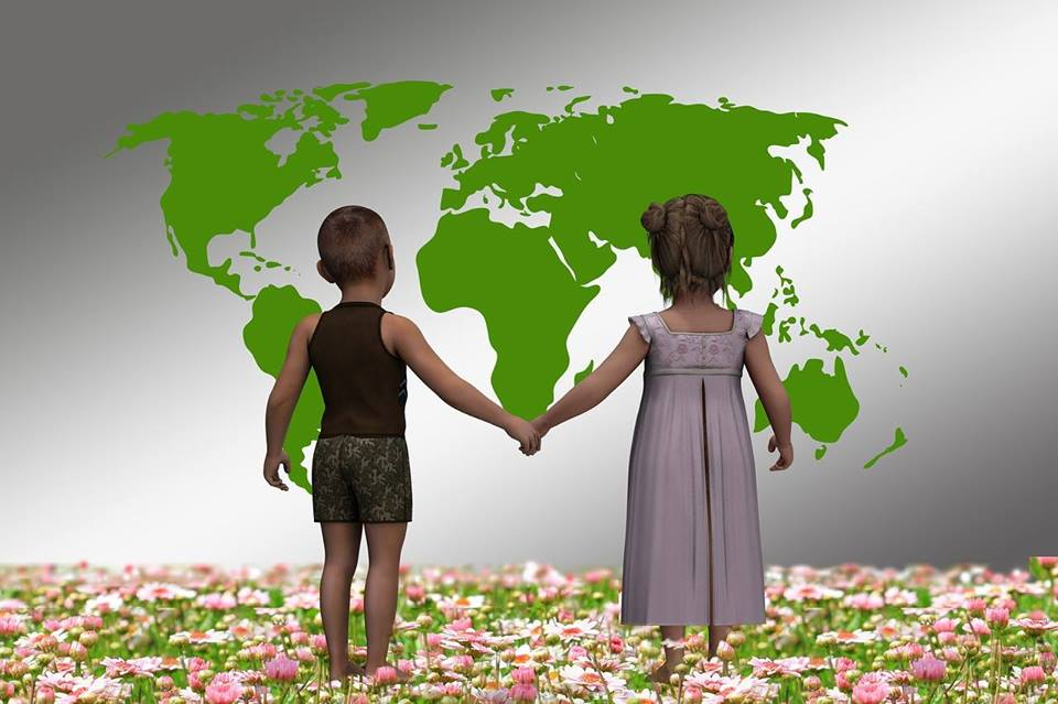 Photo of children and world map.
