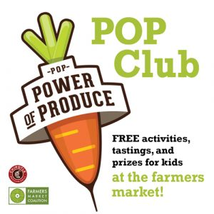 Graphic image showing a big illustration of a carrot and advertising the PoP Club for kids