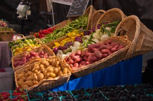 Baskets of food at market.