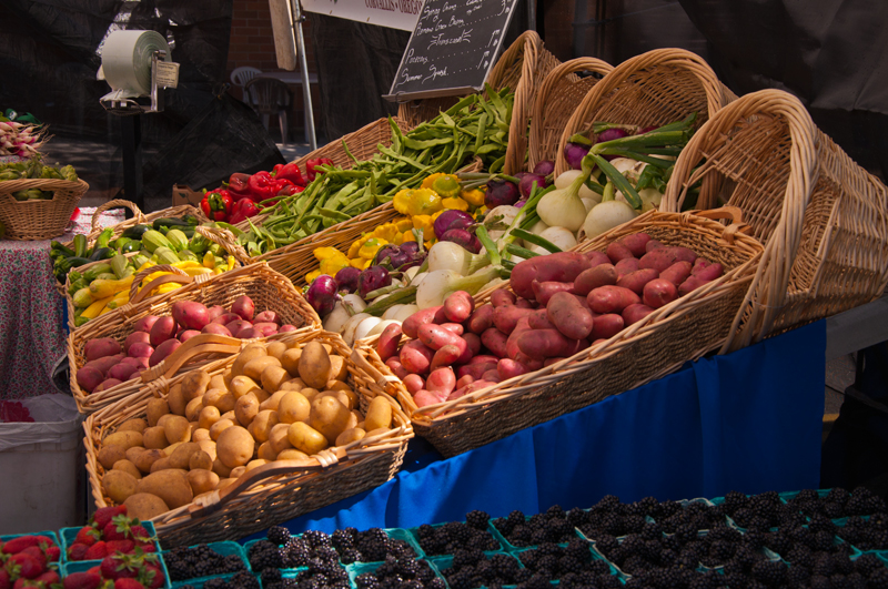 Baskets of food at market.