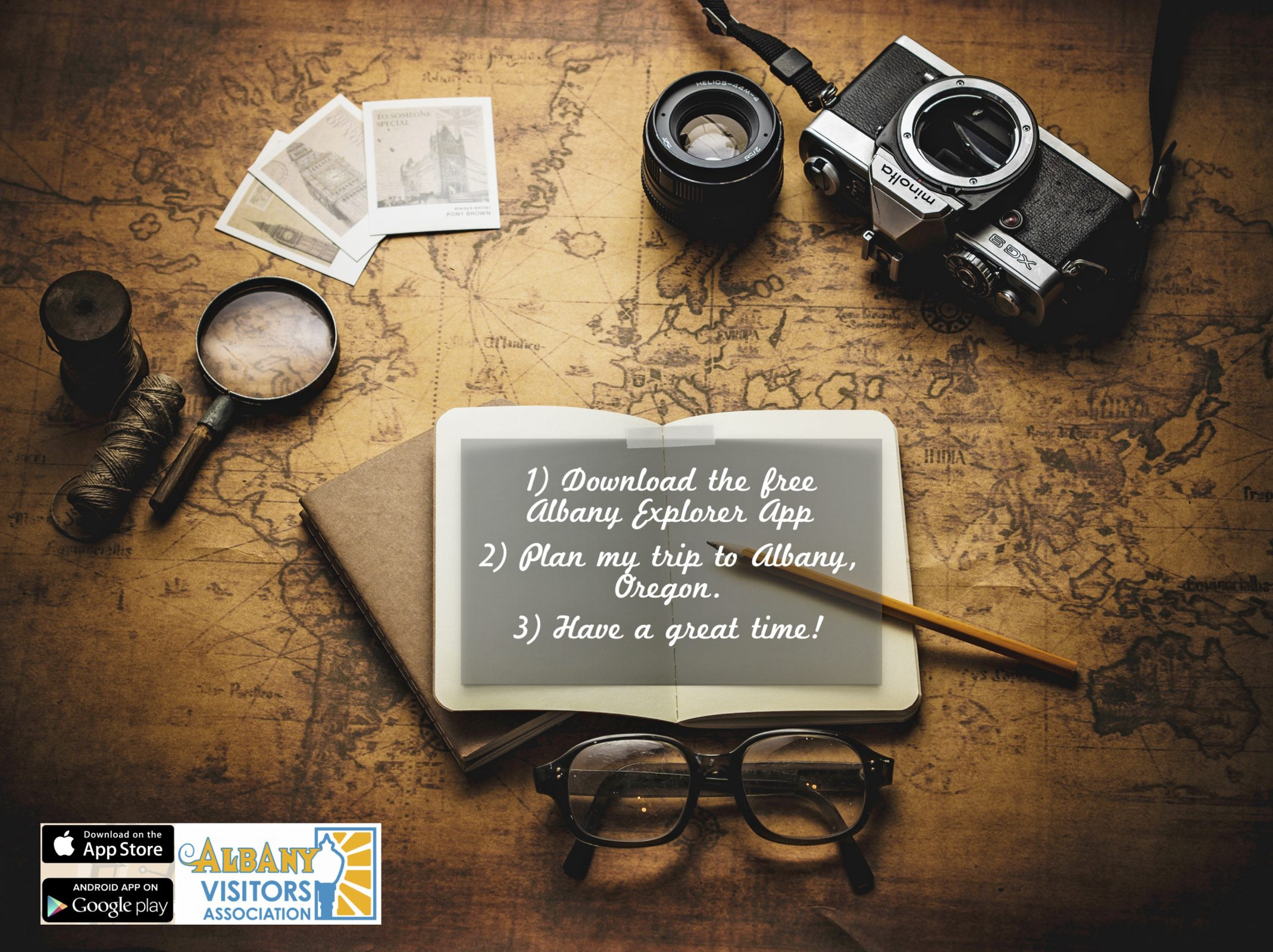 Graphic showing a camera, a map, magnifying glass, cards, and eyeglasses for the Albany Explorer App