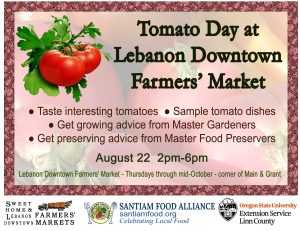 Graphic poster that gives information about the Lebanon Downtown Farmers' Market event: Tomato Day
