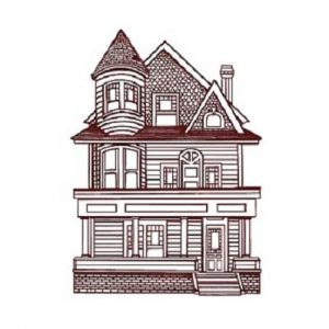 A graphic illustration depicting a historic home in Albany, OR