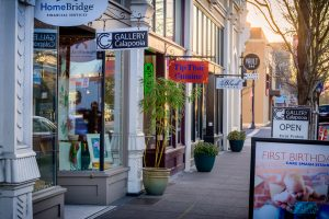 Photo of small shops along First Ave. in downtown Albany, Oregon