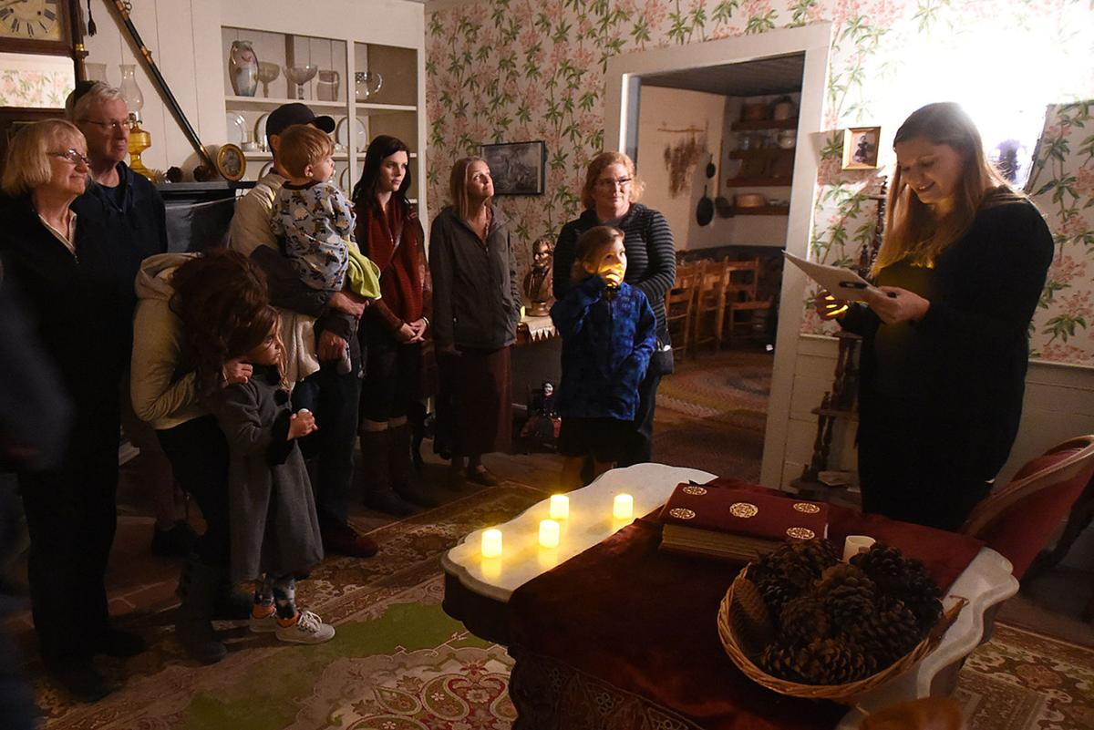 Photo showing candle light tour of the Monteith House during the Trolley of Terror in Albany, Oregon