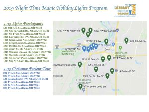 Google map image and key for the light contest locations in Albany Oregon