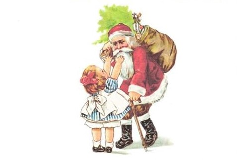 Illustration of Santa and little girl.