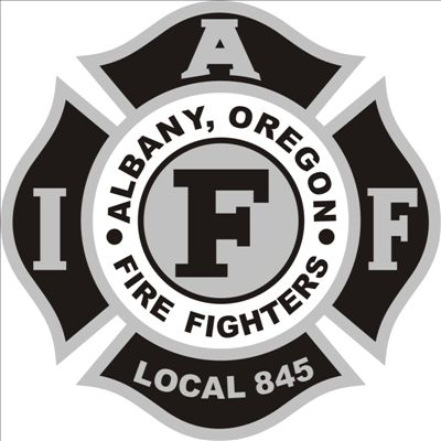 Graphic, black and white depicting Albany Oregon Fire Fighters Union