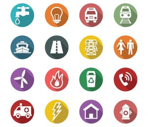 icon poster that represents public utilities such as internet, electric, television, telephone, etc. providers