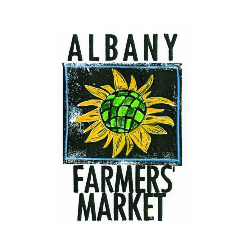 Logo graphic of the Albany Farmers' Market showing a sunflower in gold and green on a black and white background