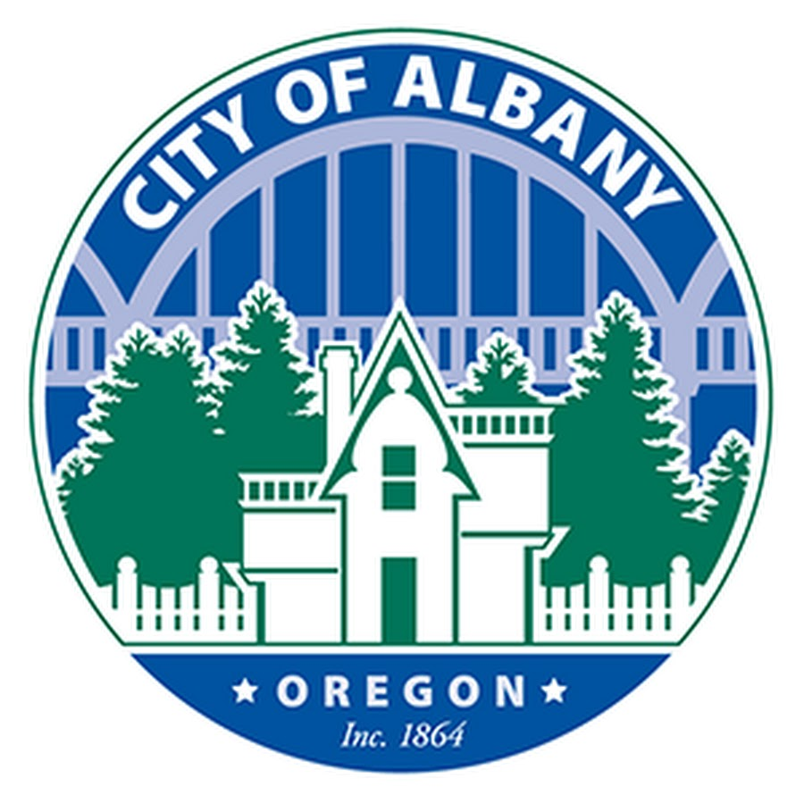 Graphic logo of the City of Albany government showing the Ellsworth bridge, historic home, and trees