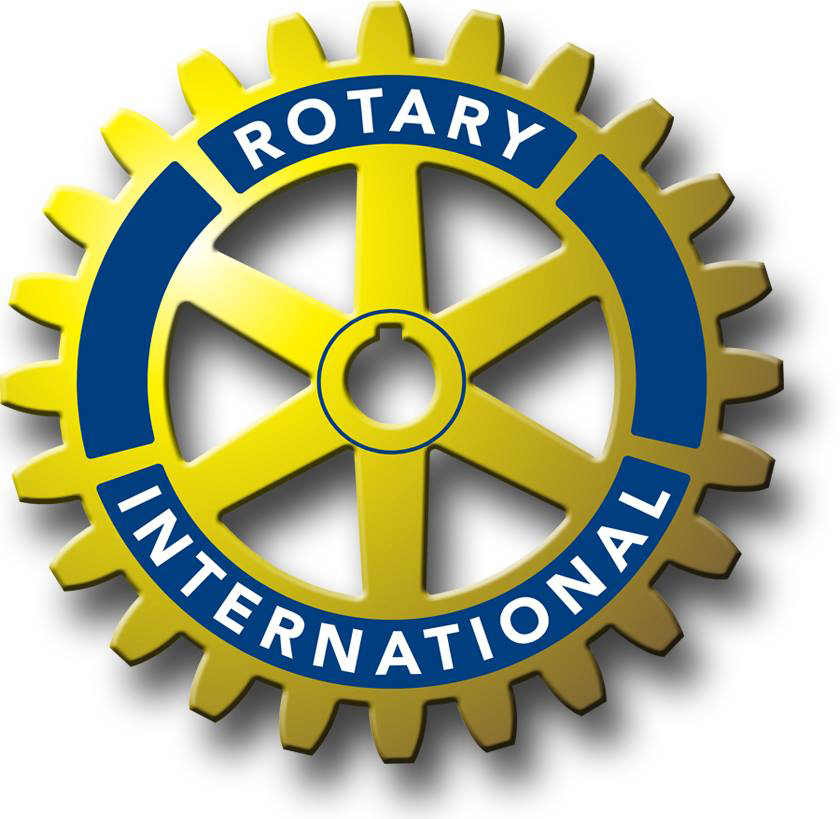 Logo of Rotary Club International - featuring a golden and blue gear with shading and name