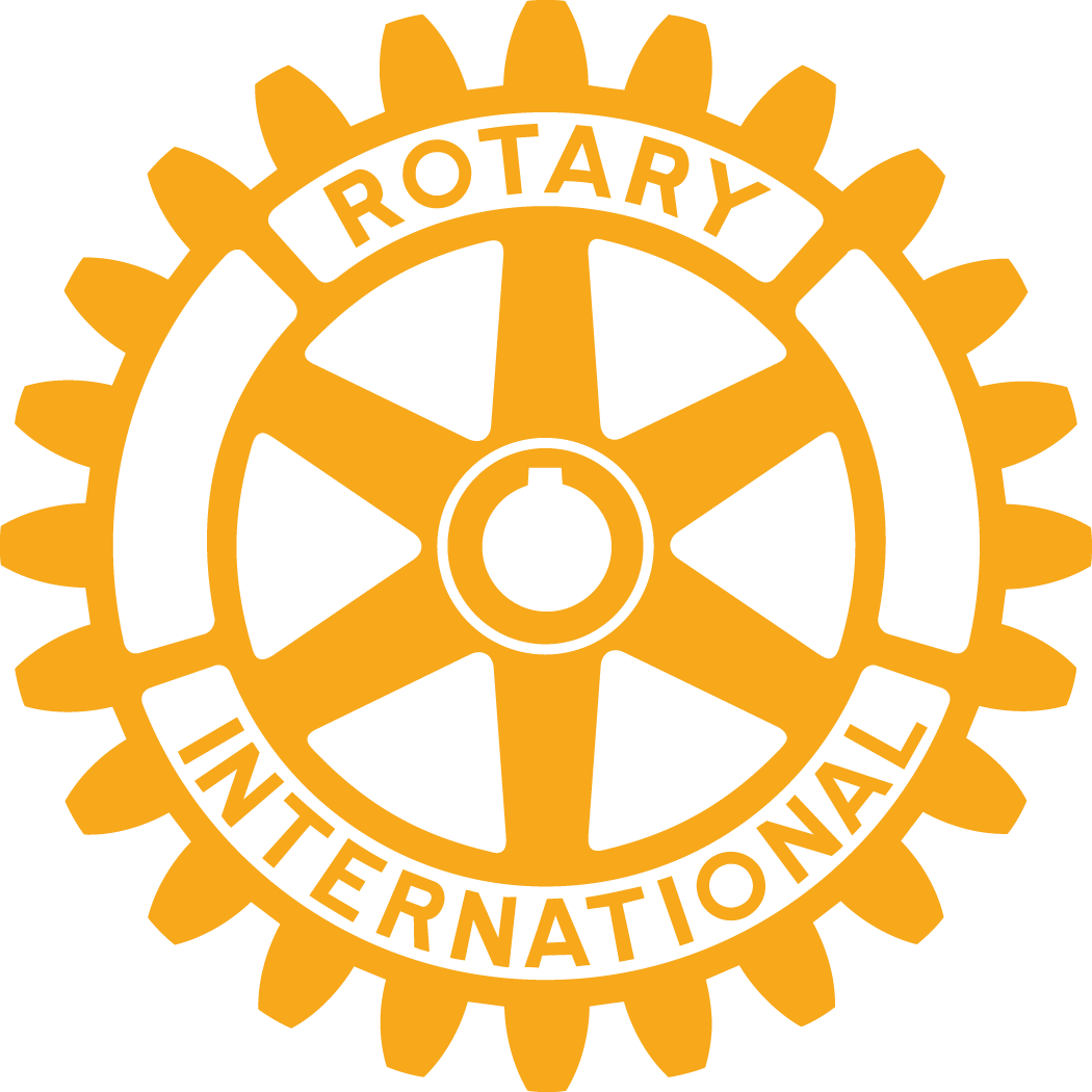 Graphic logo in gold color on white background depicting the international rotary gear symbol