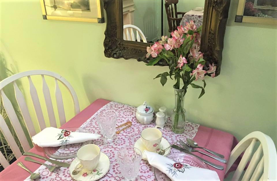 Photo of table set for tea.