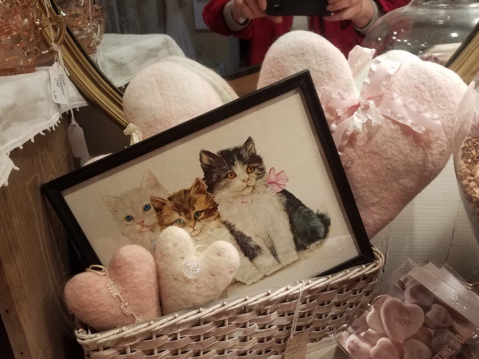 Photo of shabby chic antiques and Valentine crafts at Vintage Roost Seasonal Shop