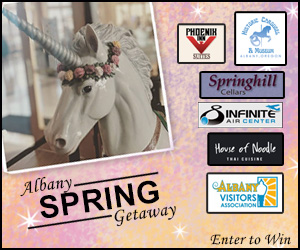 Graphic depicting logos of contest prize suppliers for Albany Visitors Association Spring Trivia Contest