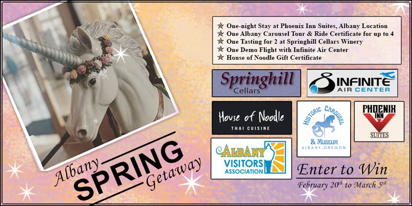 Graphic showing the logos and photo of Marcy the Unicorn promoting the Albany Visitors Association Spring Contest