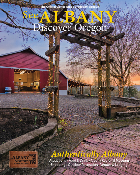 Albany, Oregon Visitor Guide Cover featuring Springhill Cellars Winery