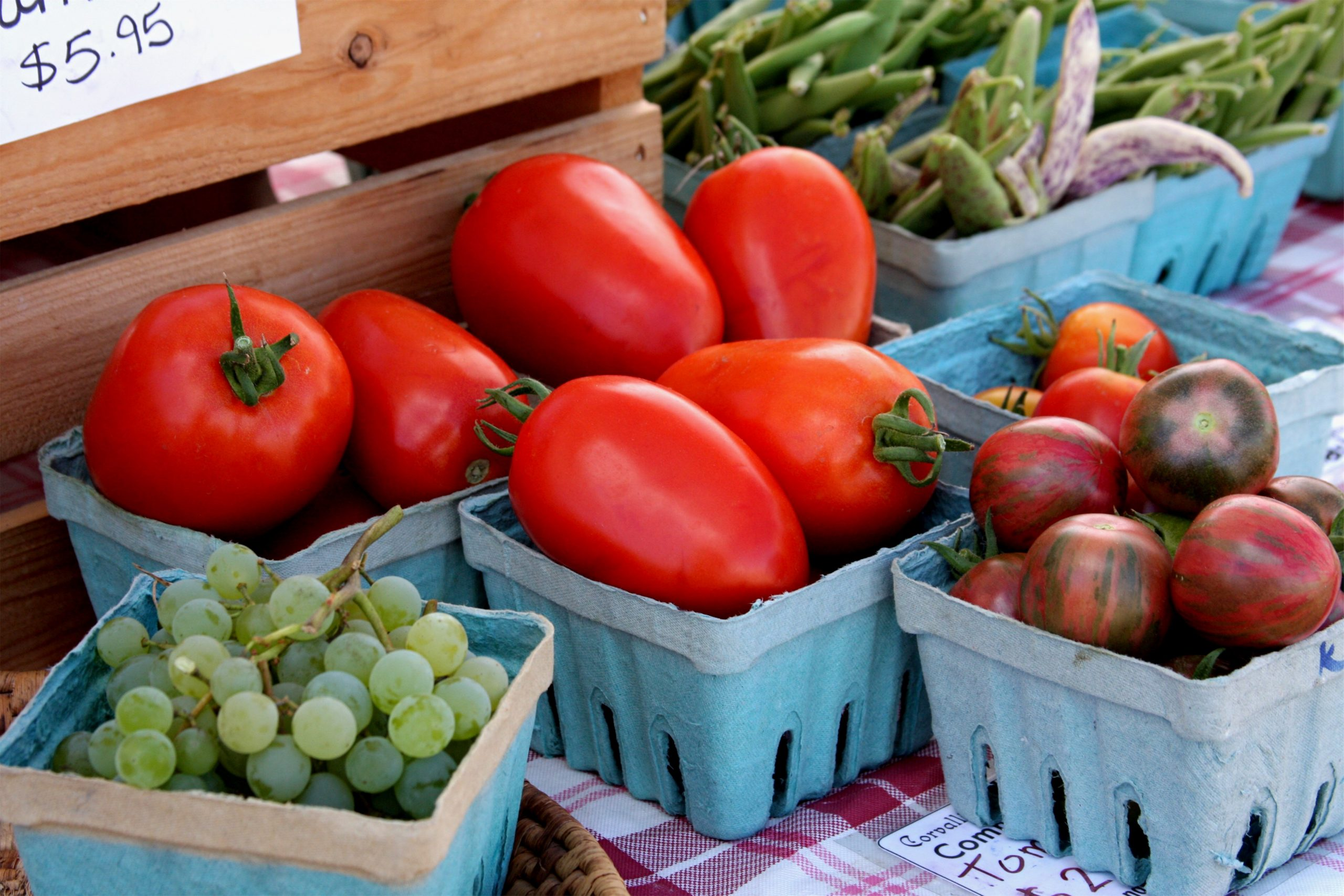 Photo of fresh vegetables and fruit at Farmers Market, Albany, OR.