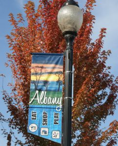 Street banner in Historic Downtown Albany, Oregon for Shopping