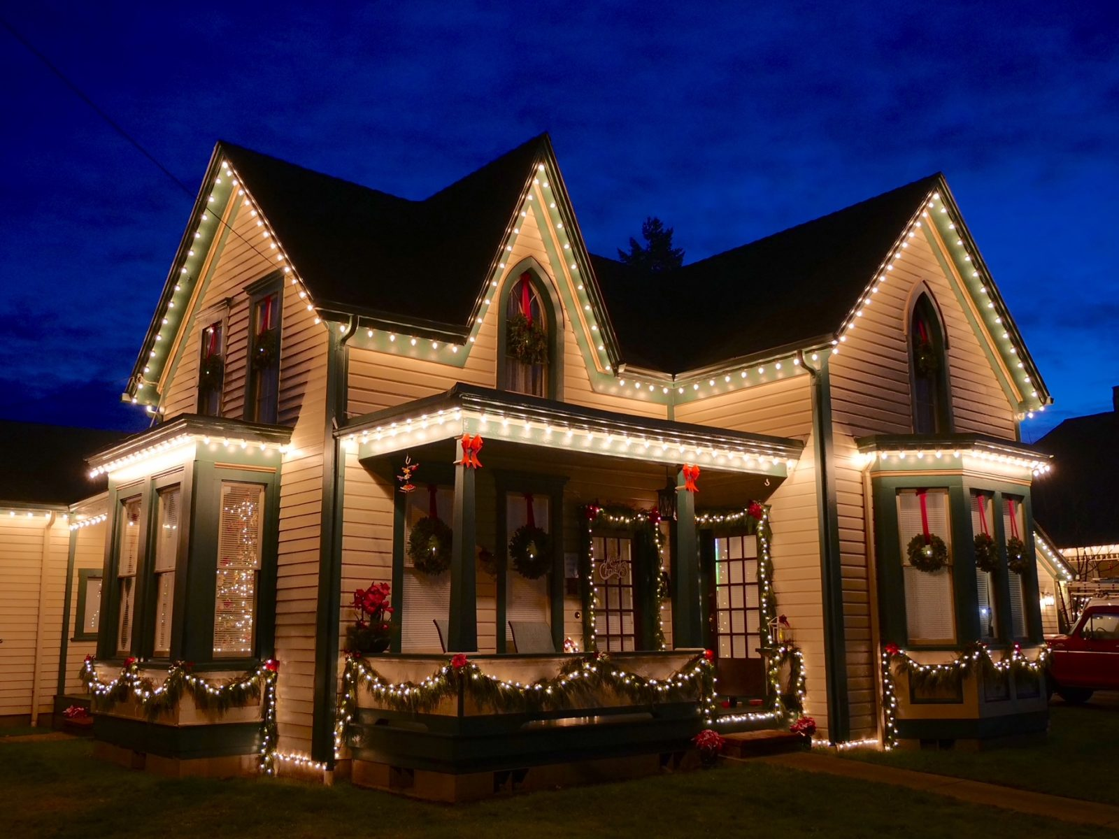 Historic home decorated for the holidays