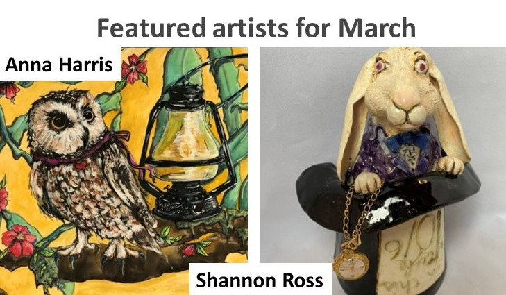 photos of artists' work, painting of owl and ceramic rabbit