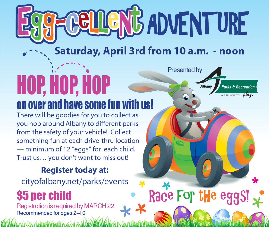 Illustration of rabbit driving egg shaped car with event information