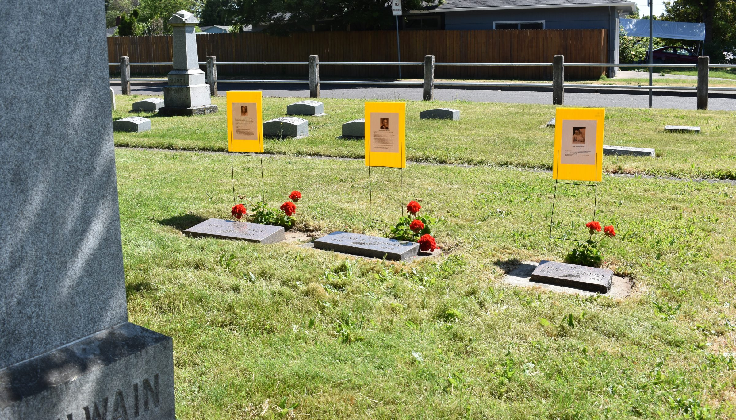 photo of special markers in cemetery