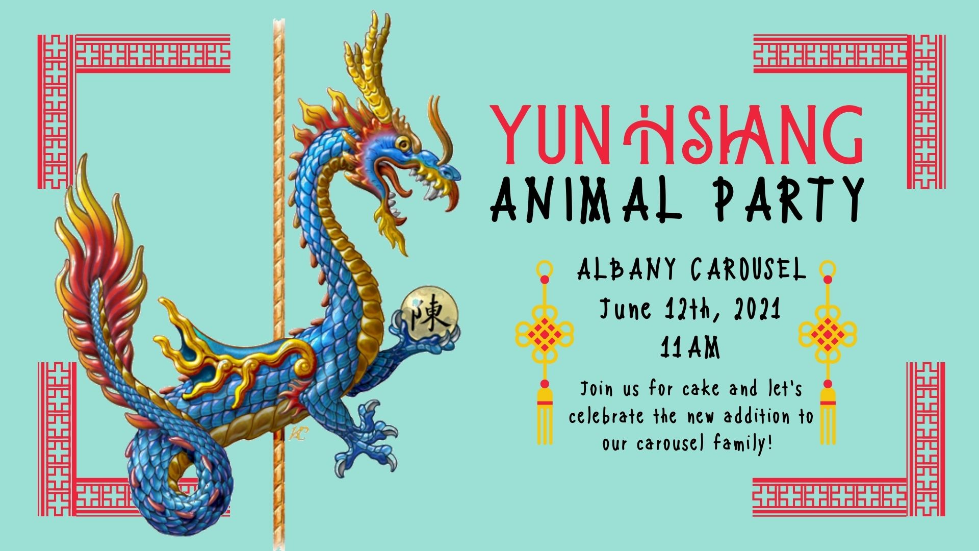 illustration of carousel dragon with event information, Albany, Oregon