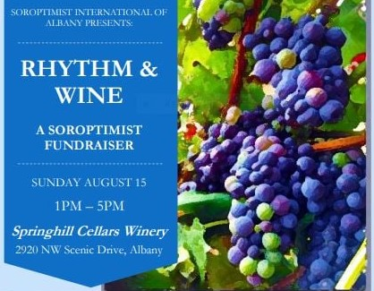 photo of grapes on vine with event information