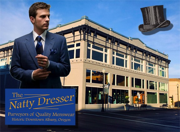 Photo of well dressed man in front of The Natty Dresser historic building, Albany, OR