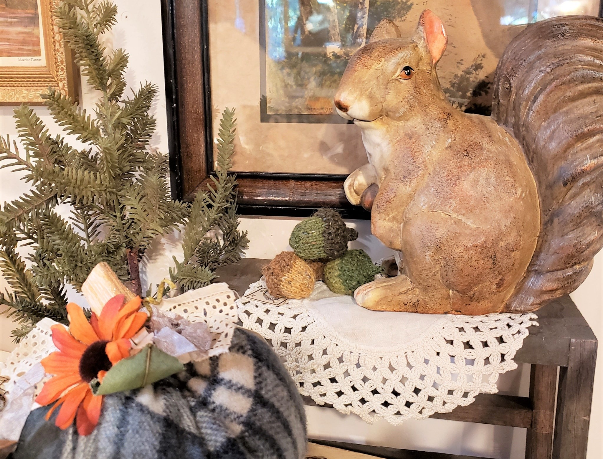 photo of carved squirrel and handmade things for sale